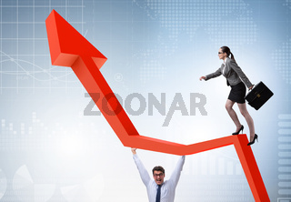 Business people in economic recovery business concept