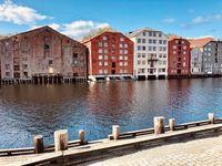 Berühmte, hölzerne Speicherhäuser von Trondheim, Norwegen