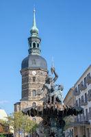 Church and fountain in Bad Schandau