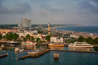Warnemuende maritime  cityscape in the morning