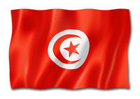 Tunisian flag isolated on white