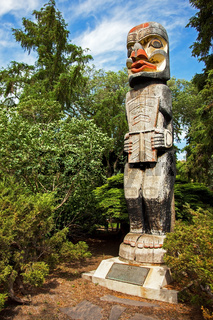 Haida totem pole at Alberta Legislature Bulding Edmonton Alberta Canada