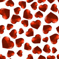 Red Polygonal Heart Random Seamless Pattern