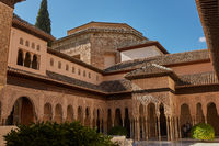 Courtyard of the Myrtles (Patio de los Arrayanes) in La Alhambra, Granada, Spain
