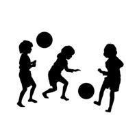 Childres soccer game, vector silhouettes