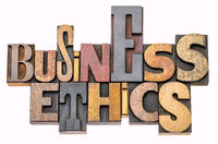 business ethics word abstract in wood type
