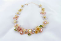 Necklace With Chiffon-Like Flowers, Sheer Petals And Akoya Pearls