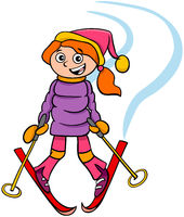 girl character on ski cartoon illustration