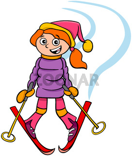 girl character on ski cartoon illustration