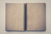 empty book, open book with blank pages retro look