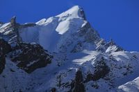Peak of the Langtang Himal covered by glacier. View from Mundu, Nepal.