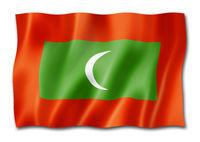 Maldives flag isolated on white
