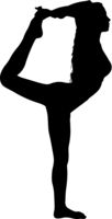 Silhouette girl on yoga class in pose on a white background