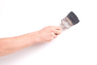 Man using old paint brush