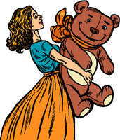 young woman and bear gift. Birthday. A celebration of love