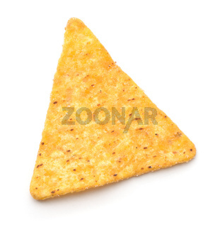 Top view of single nacho chip