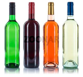 Wein Flaschen Weinflaschen Collage Sammlung Rotwein Weißwein Rose freigestellt