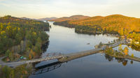 Aerial View Over Long Lake Adirondack Park Mountains New Yourk USA