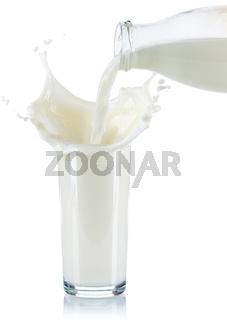 Milch Splash Spritzer spritzen einschenken eingießen Glas freigestellt Freisteller isoliert