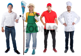 Education profession young people professions business full body portrait career isolated on white