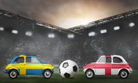Sweden and England cars on football stadium