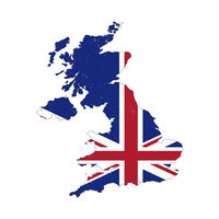United Kingdom country silhouette with flag on background, isolated on white