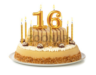 Festive cake with golden candles - Number 16