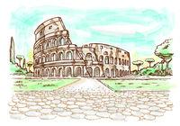 Rome Colosseum hand drawn watercolor