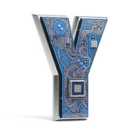 Letter Y.  Alphabet in circuit board style. Digital hi-tech letter isolated on white.