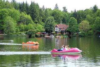 Tretboote auf dem Bergsee bei Bad Säckingen