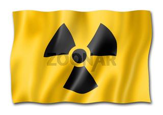 radioactive nuclear symbol flag isolated on white