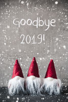 Three Red Gnomes, Cement, Snowflakes, Text Goodbye 2019