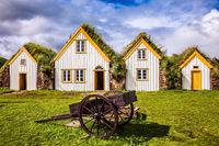 Houses and wheelbarrow