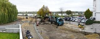 Baustelle vom Ausbau der Donaulände und des Klosterweges zum 'goldenen Straßl' in  Tulln