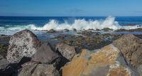 Waves hitting the rocky coast