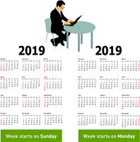 Stylish calendar with silhouette man sitting behind computer for 2019