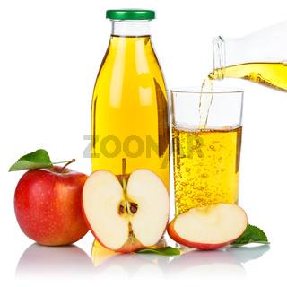 Apfelsaft einschenken eingießen Apfel Saft Äpfel Flasche Glas Fruchtsaft Quadrat freigestellt Freisteller