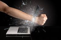 Hand boxing laptops screen