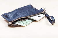 handbag with phone, cards and euro notes on table