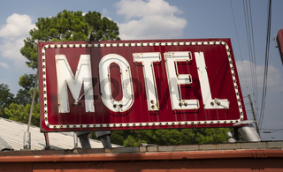 Saturated Red Abandoned Neon Motel Sign