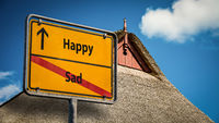Street Sign to Happy versus Sad