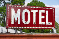 Saturated Red Abandoned Neon Motel Sign Urban Southern Place