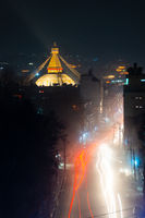 Boudhanath stupa at night, Nepal