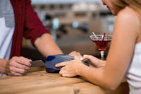 Paying by credit card in cafe