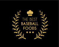 Emblem for the best baseball foods consisting of a wreath of baseball laces and chef hat. Vector