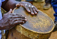 Drum player hands and your rudimentary instrument