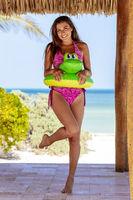 Hispanic Brunette Model Enjoying A Sunny Day