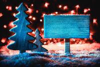 Sign, Rustic Christmas Tree, Snow, Copy Space, Snowflakes
