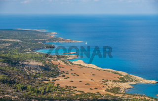 Bays and blue lagoon seen from Aphrodite trail, Akamas peninsula, Cyprus