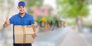 Parcel delivery service box package order delivering job banner success town copyspace copy space